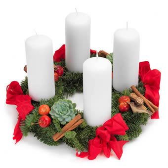 Red and White Advent Wreath