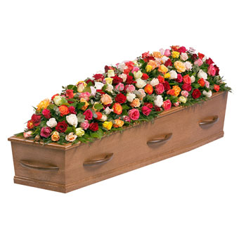 Funeral arrangement colorful roses