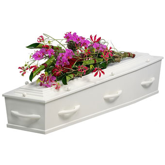 Purple funeral arrangement