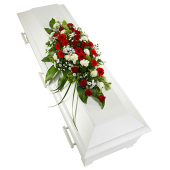 Coffin decoration in red and white colours