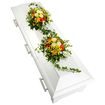 Coffin decoration in yellow, white and orange colo