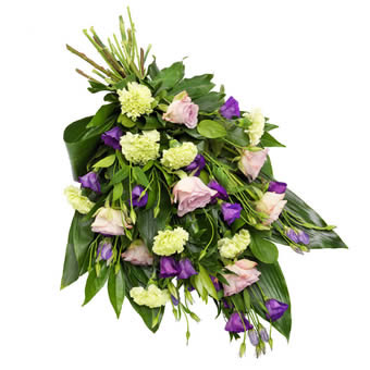 Funeral bouquet in green and purple