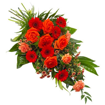 Funeral sheaf in orange and red