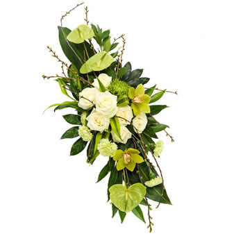 Funeral spray in white and green