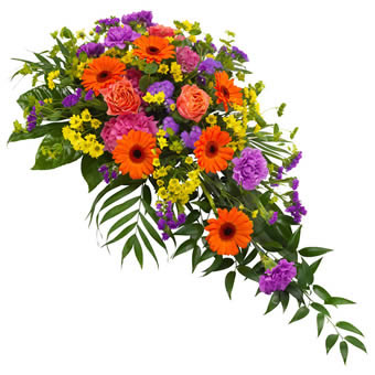 Funeral spray in mixed colours.