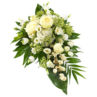 Funeral spray in white colours.