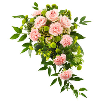 Funeral spray in pink and green colours