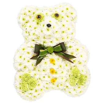 Teddy bear-shaped funeral decoration in white