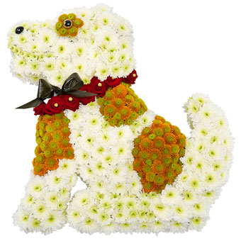 Dog-shaped funeral decoration