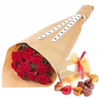 Roses rouges et chocolats