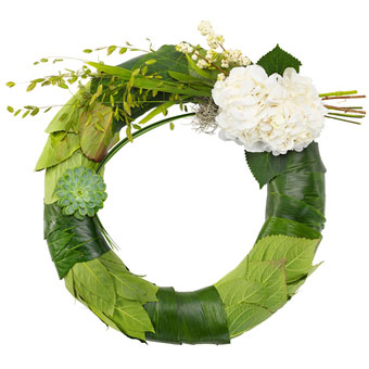 Green and white funeral wreath