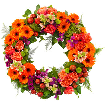 Funeral wreath orange