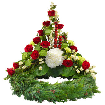 Red and white funeral arrangement on wreath