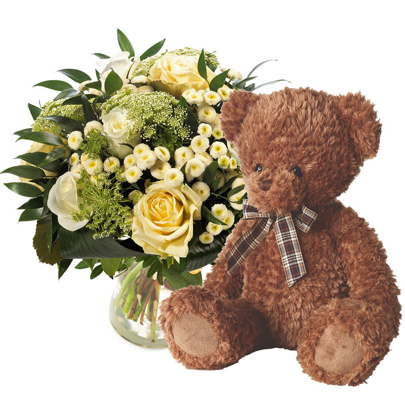 White bouquet with teddy