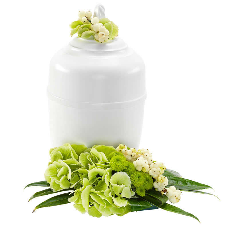 Urn arrangement in wit en groen